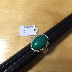 Malachite Sterling Silver Ring Size 7